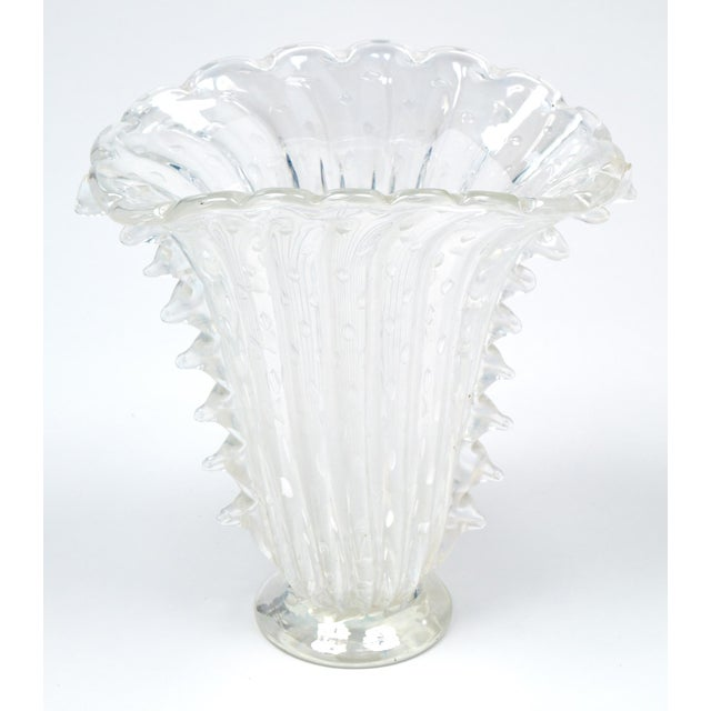 """1990s Crystal Clear Murano """"Pulegoso"""" Glass Vase For Sale - Image 5 of 9"""