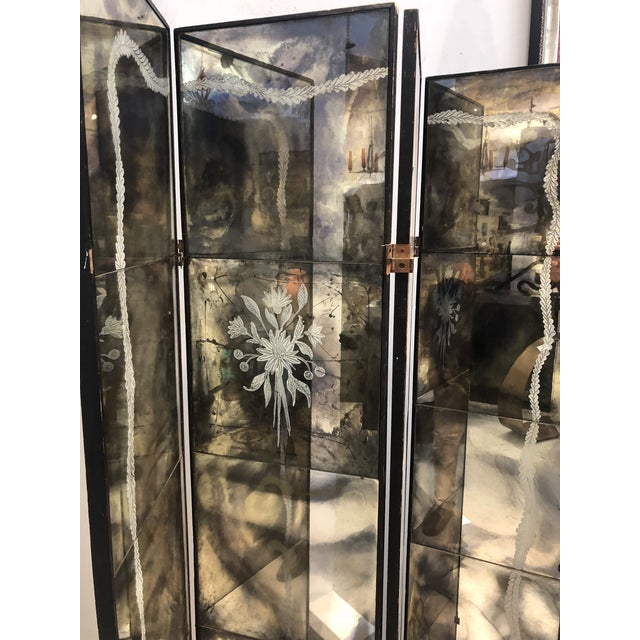 Vintage Four Panel Mercury Mirror Folding Screen For Sale - Image 9 of 13