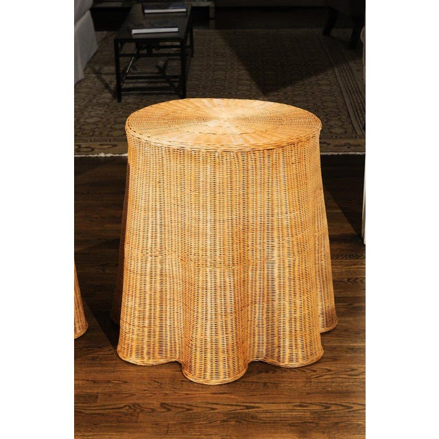 1980s Stellar Pair of Vintage Trompe l'Oiel Drape Wicker Tables For Sale - Image 5 of 12