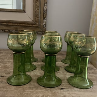 Vintage Green and Gold Italian Wine Goblets- Set of 9 Preview