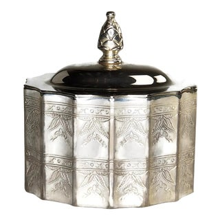 Godinger Silver Plated Lidded Trinket Box With Red Velvet Interior. For Sale