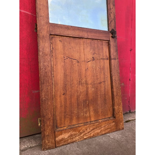 Arts & Crafts Antique Architectural Fragment Mercury Mirror Panel Inset & Hardware Wood Door For Sale - Image 3 of 12