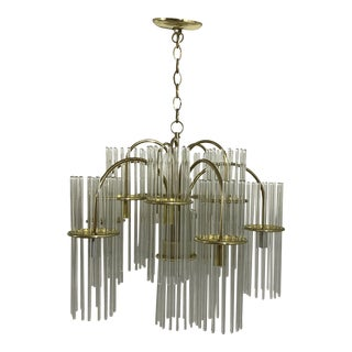 1970s Gaetano Sciolari for Lightolier Ten Arm Modern Glass Rod Chandelier For Sale