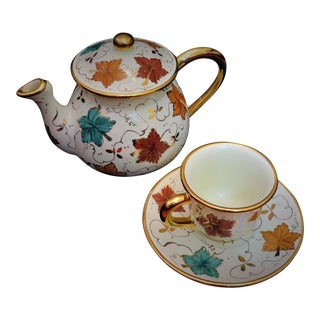 Deruta Italian Ceramic 18kt Gold Autumn Leaves Teapot with Teacup & Saucer - Set of 3 For Sale