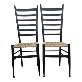 Vintage Mid Century Italian Ladder Back Chair- A Pair For Sale