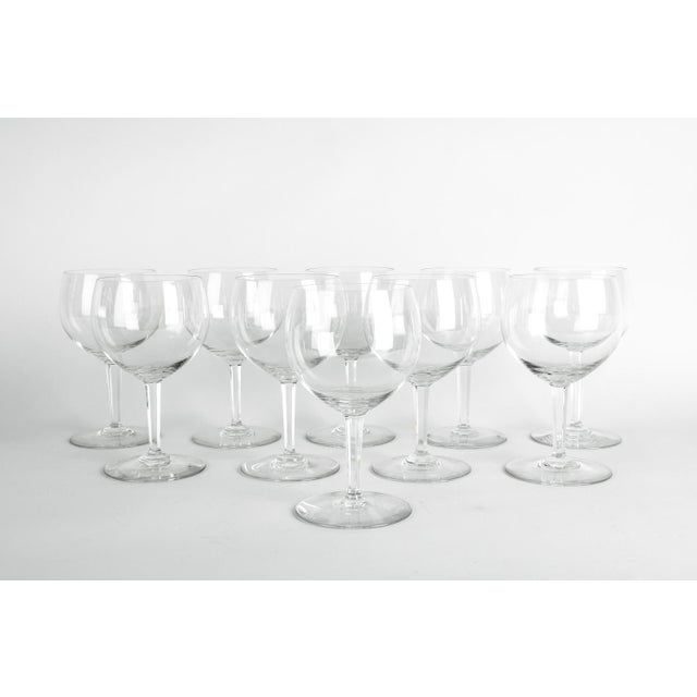 Mid-20th century Art Deco style Baccarat crystal drinks glassware set of ten pieces. Each glass is in excellent condition....