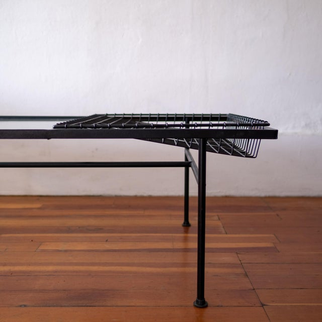 Mid Century Modern Iron Coffee Table With Magazine Holder For Sale - Image 11 of 13