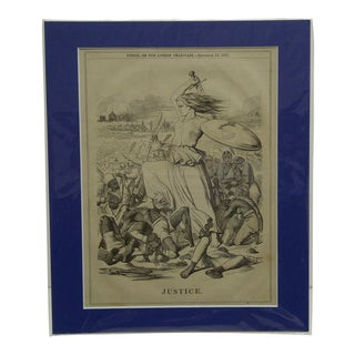 "19th Century Folk Art Framed Newspaper Cut-Out, ""Justice"" from The London Charivari For Sale"