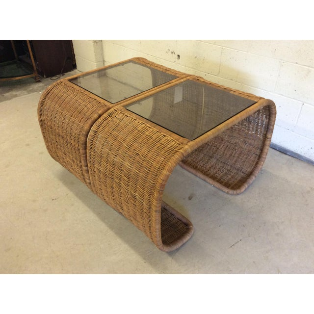 Vintage Wicker Glass Top Waterfall Side Tables - a Pair For Sale - Image 10 of 11