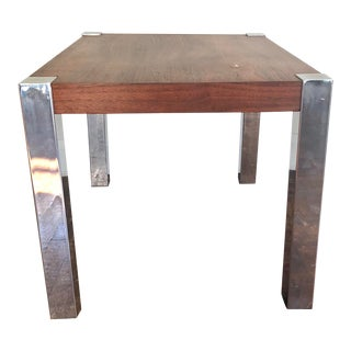 Walnut and Chrome Side Table in the Style of Milo Baughman For Sale