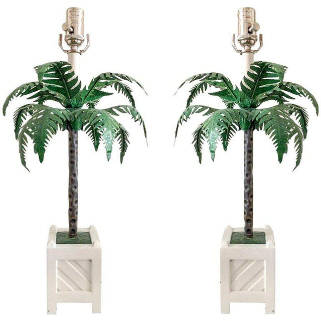 1960s Final Markdown Tole Lamps by Maison Bagues, Pair For Sale - Image 5 of 5