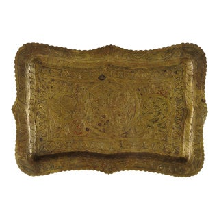 1940s Asian Hand Engraved Brass Tray For Sale