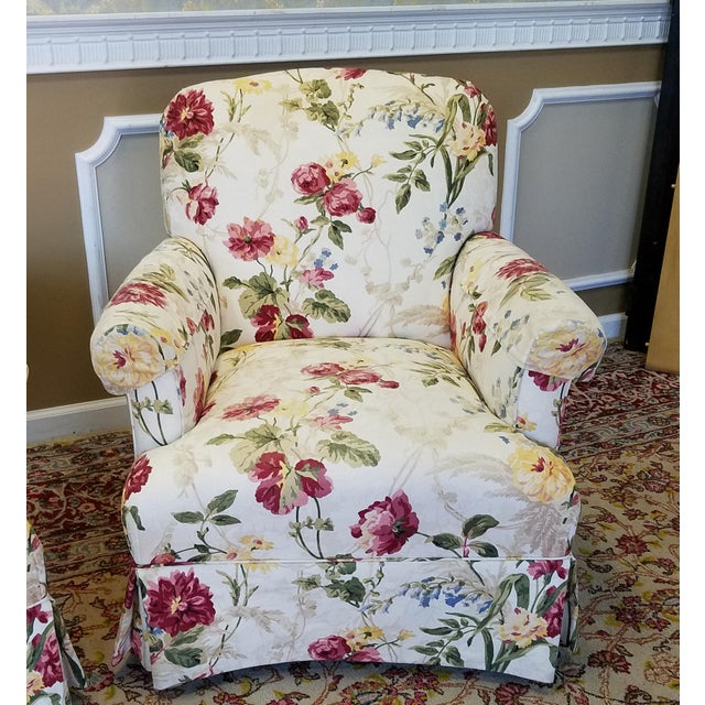 Ethan Allen Floral Upholstered Armchairs #20-7555- a Pair - Image 5 of 11