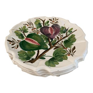 Vintage Hand Painted Italian Fig Plates- Set of 4 For Sale