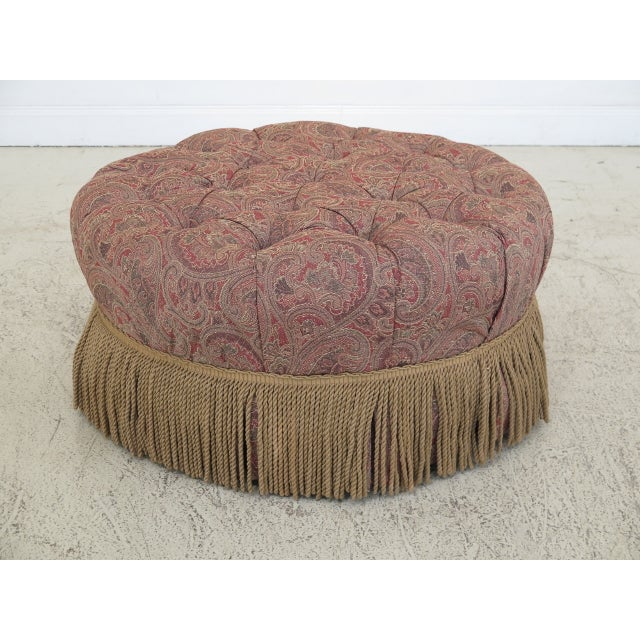 Pink Century Round Tufted Upholstered Large Ottoman For Sale - Image 8 of 8