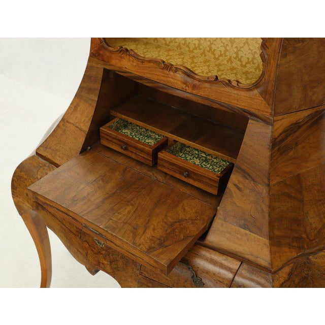 Italian Olive Burl Wood Cabriole Leg Bombay Drop Front Secretary With Bookcase For Sale - Image 11 of 13