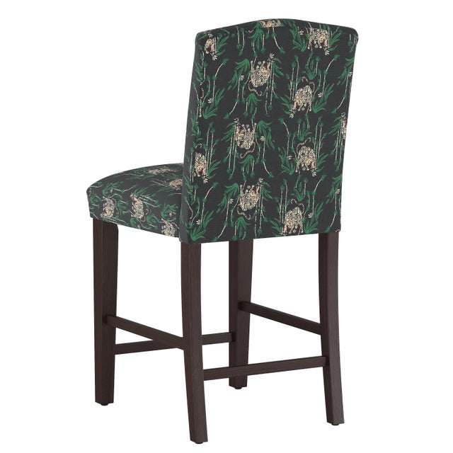 Contemporary Camel Back Counter Stool in Tiger Bamboo Ink Oga For Sale - Image 3 of 7