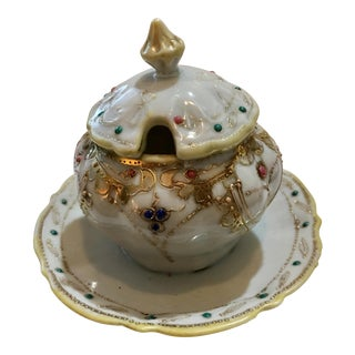 Hand Painted Ornate Nippon Lidded Condiment Dish