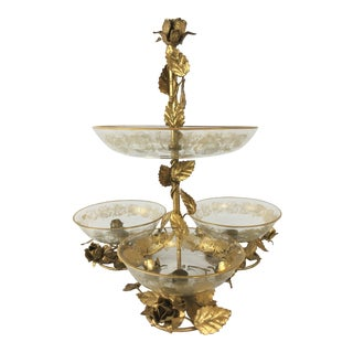 Italian Tole Rose Centerpiece With Four Etched Glass Bowls For Sale