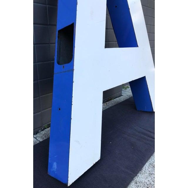 """1950s Large Vintage Blue & White Enamel Metal """"L"""" Building Signage For Sale - Image 5 of 12"""