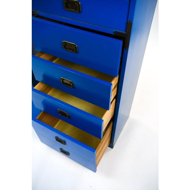 Mid Century Campaign Style Blue Tall Chests of Drawers-a Pair For Sale - Image 4 of 13