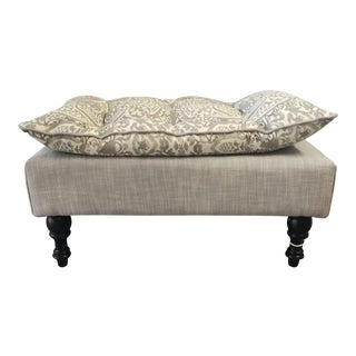 Ottoman Tufted Pillow Top - Quadrille San Marco Fabric