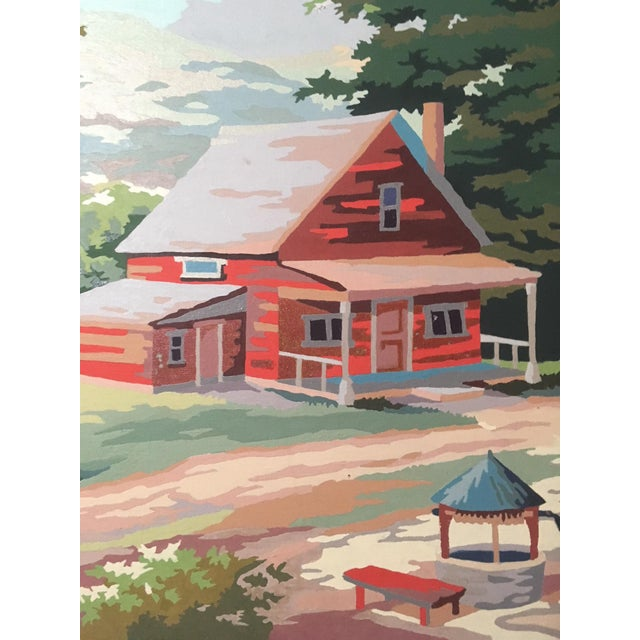 "This log cabin is very, very red, as rendered on an 18"" x 24"" board by an anonymous midcentury paint-by-numberer - even..."