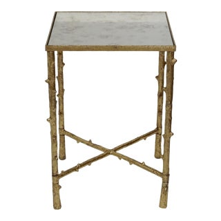 Contemporary Square Side Table With Antique Mirror Top