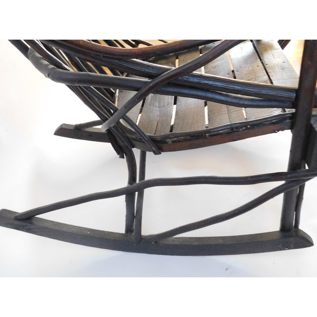 1900 - 1909 20th C. American Adirondack Twig Willow Rocking Chair For Sale - Image 5 of 13