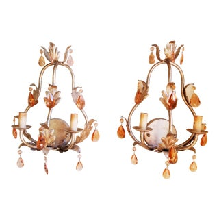 Currey & Company Antique Silver Finish & Peach Crystals Wall Sconces - A Pair