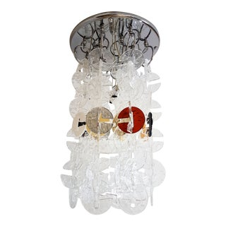 Mid Century Modern Mazzega Chrome & Murano Glass Chandelier For Sale