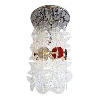 Mid Century Modern Mazzega Chrome & Murano Glass Chandelier For Sale