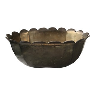 Vintage Brass Scallop Bowl or Planter For Sale