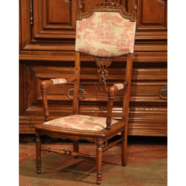 19th Century French Louis XVI Carved Walnut Chauffeuse Chair With Vintage Fabric For Sale - Image 4 of 10