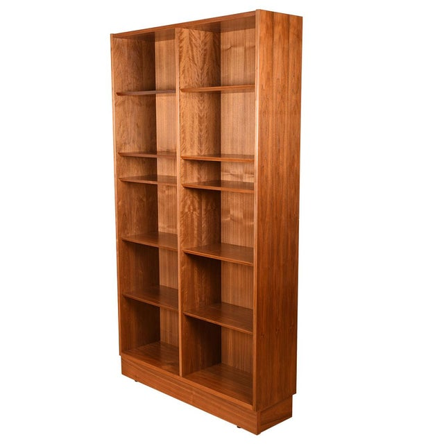 Mid-Century Modern Danish Walnut 42″ Tall Bookcase W/ Adjustable Shelves For Sale - Image 3 of 9