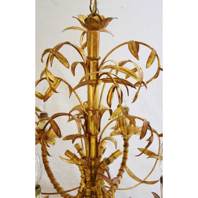 Vintage Italian Six-Arm/Light Gold Gilt Bamboo Tole Chandelier - Image 8 of 11