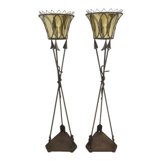 Vintage 1930's Jardinières Plant Stands Italian Empire Style Forged Iron With Polished Brass - a Pair For Sale
