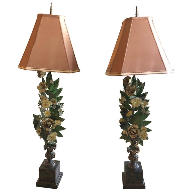 Gorgeous Pair of French Antique Tole Table Lamps With Flowers and Leaves For Sale - Image 12 of 12
