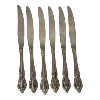 Floral Stainless Steel Knives - Set of 6 For Sale