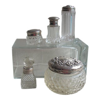 Sterling & Crystal Dressing Table Containers - Set of 5 For Sale