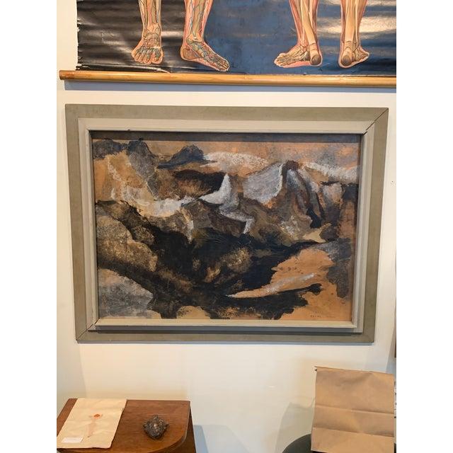"Abstract mixed media by northwest artist Flora Correa titled ""Hidden Pass"". Circa 1964."