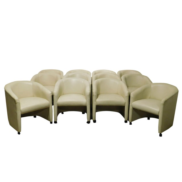 Vintage Set 12 Postmodern Off White Leather Barrel Back Chairs For Sale - Image 13 of 13