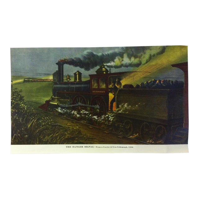 """Currier & Ives Color Print, """"The Danger Signal - 1884"""", Circa 1950 For Sale"""