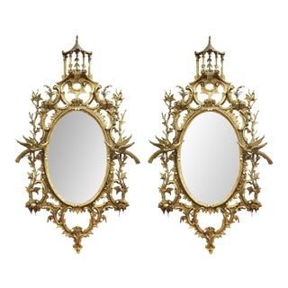 George III English Rococo Giltwood Mirrors in Chippendale Manner - a Pair For Sale