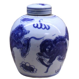 Chinese Oriental Small Blue White Porcelain Ginger Jar For Sale