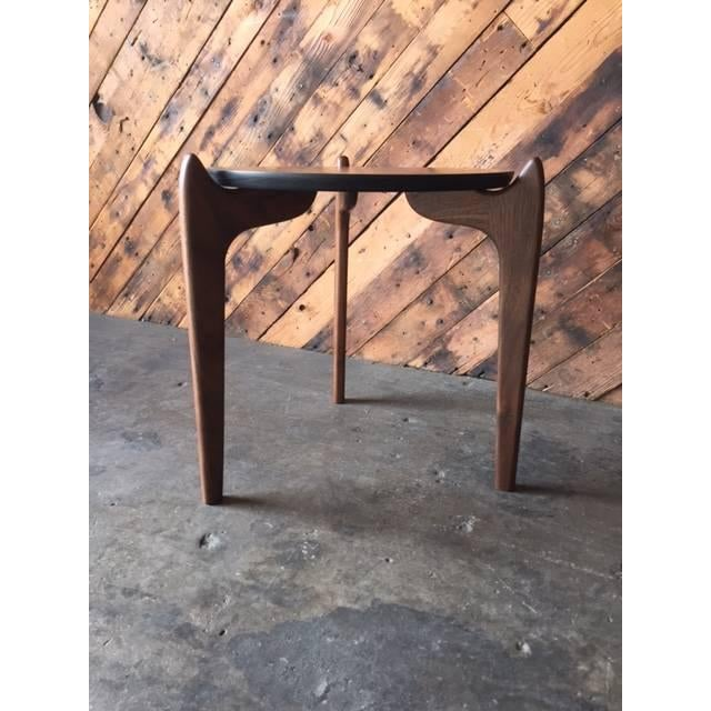 Mid-Century Modern Custom Walnut Sculpted Legs Side Table For Sale - Image 3 of 7