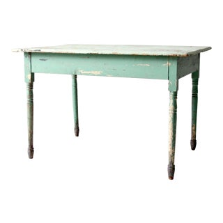 Antique Green Wooden Table For Sale