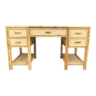 Mid-century Bamboo and Raffia Desk