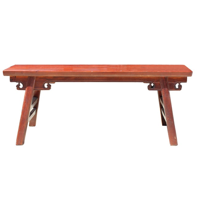 Chinese Oriental Distressed Brown Stain Long Wood Bench Stool For Sale - Image 4 of 8
