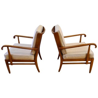 Pair of Walter and Wilhelm Knoll Cane and Cherry Armchairs for Knoll Antimott For Sale